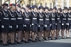 Cadets of the Academy of the Ministry of Internal Affairs in the ranks before the rehearsal of the Victory Day parade in St. Peter Stock Images