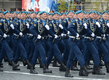 Cadets at the air force Academy named after Professor N. E. Zhukovsky and Y. A. Gagarin during the parade on red square in honor o Stock Photography