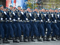 Cadets at the air force Academy named after Professor N. E. Zhukovsky and Y. A. Gagarin during the parade on red square in honor o Royalty Free Stock Image
