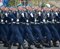 Cadets at the air force Academy named after Professor N. E. Zhukovsky and Y. A. Gagarin during the parade on red square in honor o Stock Photos