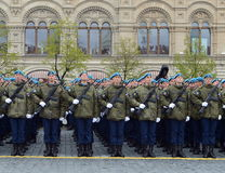 Cadets at the air force Academy named after Professor N. E. Zhukovsky and Y. A. Gagarin during the parade on red square in honor o Stock Image