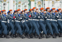 Cadets of the Institute Ministry of emergency situations on parade rehearsal in honor of Victory Day. Saint Petersburg. SAINT PETERSBURG, RUSSIA - MAY 05, 2015 stock images
