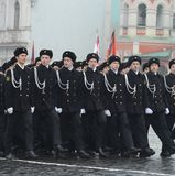 The cadets of the marine corps on parade in red square in Moscow. Stock Photo