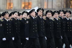 The cadets of the marine corps on parade in red square in Moscow. Royalty Free Stock Image