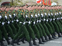 Cadets of the military Academy of logistics behalf of the army General A.V. khruleva on the parade dedicated to the Victory Day. Royalty Free Stock Photos