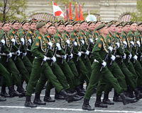 Cadets of the military Academy of logistics behalf of the army General A.V. khruleva on the parade dedicated to the Victory Day. Stock Photos