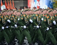 Cadets of the military Academy of logistics behalf of the army General A.V. khruleva on the parade dedicated to the Victory Day. Stock Images