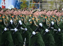 Cadets of the military Academy of logistics behalf of the army General A.V. khruleva on the parade dedicated to the Victory Day. Royalty Free Stock Image
