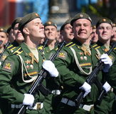 Cadets of the military Academy RVSN named after Peter the Great at the dress rehearsal of parade on red square in honor of Victory Stock Image
