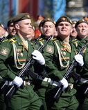Cadets of the military Academy RVSN named after Peter the Great at the dress rehearsal of parade on red square in honor of Victory Stock Photography