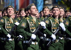 Cadets of the military Academy RVSN named after Peter the Great at the dress rehearsal of parade on red square in honor of Victory Stock Images