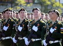Cadets of the military Academy RVSN named after Peter the Great at the dress rehearsal of parade on red square in honor of Victory Royalty Free Stock Photography