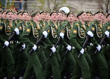 Cadets of the military Academy RVSN named after Peter the Great military parade in honor of Victory Day on red square. Royalty Free Stock Image