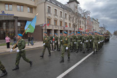 Cadets of military institute marching on parade Stock Photos