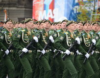 Cadets Military-space Academy named after A. F. Mozhaisky during the parade dedicated to the Victory Day. Royalty Free Stock Photography