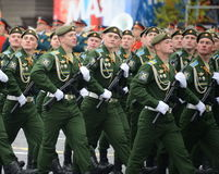 Cadets Military-space Academy named after A. F. Mozhaisky during the parade dedicated to the Victory Day. Royalty Free Stock Photo