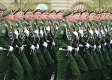 Cadets Military-space Academy named after A. F. Mozhaisky during the parade dedicated to the Victory Day. Royalty Free Stock Images