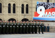 Cadets Military-space Academy named after A. F. Mozhaisky during the parade devoted to Victory Day on red square. Stock Photos
