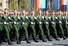 The cadets of the Military University of the Ministry of Defence of the Russian Federation on the General parade rehearsal in red Stock Photos