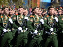 The cadets of the Military University of the Ministry of Defence of the Russian Federation on the General parade rehearsal in red Royalty Free Stock Photography