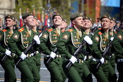 The cadets of the Military University of the Ministry of Defence of the Russian Federation on the General parade rehearsal in red Royalty Free Stock Photos