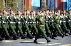 The cadets of the Military University of the Ministry of Defence of the Russian Federation on the General parade rehearsal in red Royalty Free Stock Photo