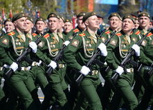 The cadets of the Military University of the Ministry of Defence of the Russian Federation on the General parade rehearsal in red Stock Images
