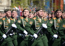 The cadets of the Military University of the Ministry of Defence of the Russian Federation on the General parade rehearsal in red Royalty Free Stock Images