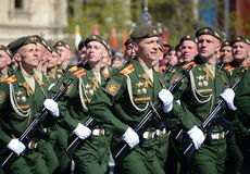 The cadets of the Military University of the Ministry of Defence of the Russian Federation on the General parade rehearsal in red Stock Image