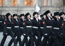 The cadets of the Moscow cadet corps on a parade dedicated to November 7, 1941 on Red Square in Moscow. Royalty Free Stock Photos