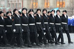 The cadets of the Moscow cadet corps on a parade dedicated to November 7, 1941 on Red Square in Moscow. Royalty Free Stock Photography