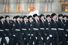 The cadets of the Moscow cadet corps on a parade dedicated to November 7, 1941 on Red Square in Moscow. Royalty Free Stock Images