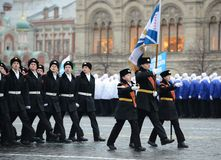 The cadets of the Moscow cadet corps on a parade dedicated to November 7, 1941 on Red Square in Moscow. Stock Images