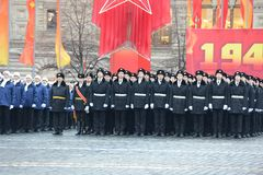 The cadets of the Moscow cadet corps on a parade dedicated to November 7, 1941 on Red Square in Moscow. Stock Photography