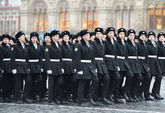The cadets of the Moscow cadet corps on a parade dedicated to November 7, 1941 on Red Square in Moscow. Stock Photo