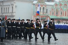 The cadets of the Moscow cadet corps on parade Stock Image