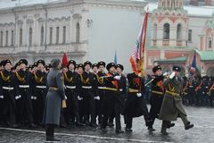 The cadets of the Moscow cadet corps on parade Royalty Free Stock Photography