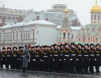 The cadets of the Moscow cadet corps on parade Stock Photography