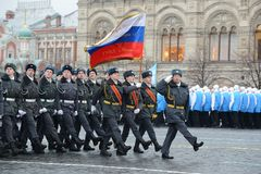 Cadets of the Moscow police College  on a parade dedicated to November 7, 1941 on Red Square in Moscow. Stock Photography