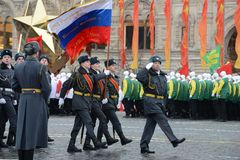 Cadets of the Moscow police College  on a parade dedicated to November 7, 1941 on Red Square in Moscow. Royalty Free Stock Images
