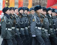 Cadets of the Moscow police College  on a parade dedicated to November 7, 1941 on Red Square in Moscow. Royalty Free Stock Photography