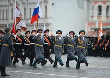 The cadets  of the Moscow Suvorov military school  at the parade on Red Square in Moscow. Stock Photo