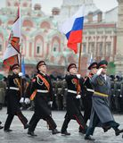 The cadets  of the Moscow Suvorov military school  at the parade on Red Square in Moscow. Royalty Free Stock Photography