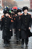 The cadets  of the Moscow Suvorov military school  at the parade on Red Square in Moscow. Stock Photos