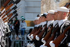 Cadets at the New York St. Patrick's Day Parade. Rows of cadets March down 5th Avenue in New York City in the Saint Patrick's Day Parade Stock Photography