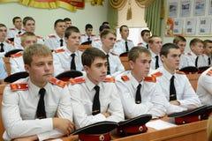 Cadets Novocherkassk Suvorov military school. NOVOCHERKASSK, RUSSIA - SEPTEMBER 12, 2014: Cadets Novocherkassk Suvorov military school of the Ministry of Royalty Free Stock Photos