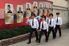 Cadets Novocherkassk Suvorov military school. NOVOCHERKASSK, RUSSIA - SEPTEMBER 12, 2014: Cadets Novocherkassk Suvorov military school of the Ministry of Stock Photography