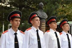 Cadets Novocherkassk Suvorov military school. NOVOCHERKASSK, RUSSIA - SEPTEMBER 12, 2014: Cadets Novocherkassk Suvorov military school of the Ministry of royalty free stock image