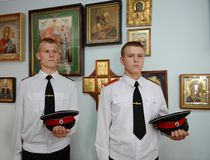 Cadets Novocherkassk Suvorov military school. NOVOCHERKASSK, RUSSIA - SEPTEMBER 12, 2014: Cadets Novocherkassk Suvorov military school of the Ministry of stock images