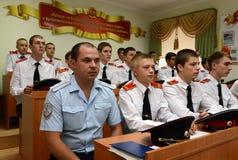 Cadets Novocherkassk Suvorov military school. NOVOCHERKASSK, RUSSIA - SEPTEMBER 12, 2014: Cadets Novocherkassk Suvorov military school of the Ministry of Royalty Free Stock Photography